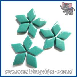 Glasmozaiek steentjes - Diamonds Ruitjes Wiebertjes Normaal - 12 x 19 mm - Enkele Kleuren - per 50 gram - Mid Teal