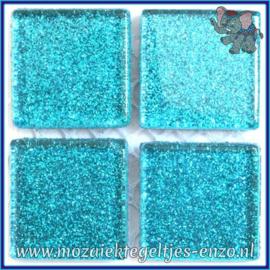 Glasmozaiek tegeltjes - Glitter - 2 x 2 cm - Enkele Kleuren - per 20 steentjes - Aztec Turquoise
