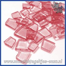 Glasmozaiek steentjes - Transparant Glass Puzzles Normaal - Enkele Kleuren - per 50 gram - Pop Pink