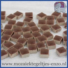 Geglazuurde Keramiek Stenen - 1 x 1 cm - Enkele Kleuren - per 60 steentjes - Burnt Umber