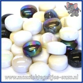 Glasmozaiek steentjes - Optic Drops Normaal en Parelmoer - 12 mm - Gemixte Kleuren - per 50 gram - Ebony and Ivory