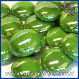 Glasmozaiek steentjes - Glasnuggets/Glasstenen Parelmoer - 18/22 mm - Enkele Kleuren - per 10 stuks - Green Opalescent