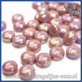 Glasmozaiek steentjes - Optic Drops Parelmoer - 12 mm - Enkele Kleuren - per 50 gram - Deep Rose