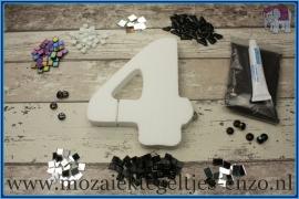 Mozaiek Kant & Klaar Pakket Piepschuim Huisnummer Groot - Cijfer 4 Zwart