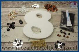 Mozaiek Kant & Klaar Pakket Piepschuim Huisnummer Groot - Cijfer 8 Bruin