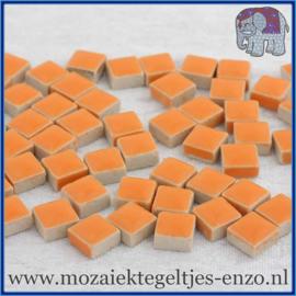 Geglazuurde Keramiek Stenen - 1 x 1 cm - Enkele Kleuren - per 60 steentjes - Popsicle Orange