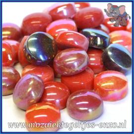 Glasmozaiek steentjes - Optic Drops Normaal en Parelmoer - 12 mm - Gemixte Kleuren - per 50 gram - Scarlet Fever