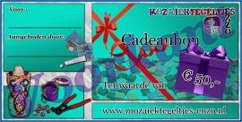 Cadeaubon mozaiek hobby - Ter waarde van 50 Euro