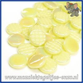 Glasmozaiek steentjes - Penny Rounds Parelmoer - 18 mm - Enkele Kleuren - per 50 gram - Yellow Pollen