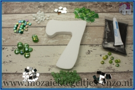 Mozaiek Kant & Klaar Pakket Piepschuim Huisnummer Groot - Cijfer 7 Groen