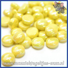 Glasmozaiek steentjes - Optic Drops Parelmoer - 12 mm - Enkele Kleuren - per 50 gram - Acid Yellow