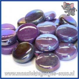Glasmozaiek steentjes - Optic Drops Normaal en Parelmoer - 20 mm - Gemixte Kleuren - per 50 gram - Berry Satin
