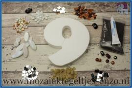 Mozaiek Kant & Klaar Pakket Piepschuim Huisnummer Groot - Cijfer 9 Bruin