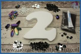 Mozaiek Kant & Klaar Pakket Piepschuim Huisnummer Groot - Cijfer 2 Zwart
