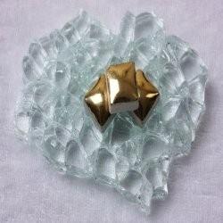 "- Keramiek  1 x 1 cm -  Gold-""S"""