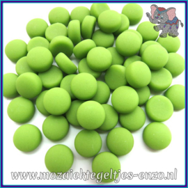 Glasmozaiek steentjes - Optic Drops Matte - 12 mm - Enkele Kleuren - per 50 gram - New Green