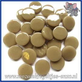 Glasmozaiek steentjes - Penny Rounds Normaal - 18 mm - Enkele Kleuren - per 50 gram - Khaki Grey