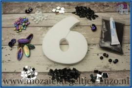 Mozaiek Kant & Klaar Pakket Piepschuim Huisnummer Groot - Cijfer 6 Zwart