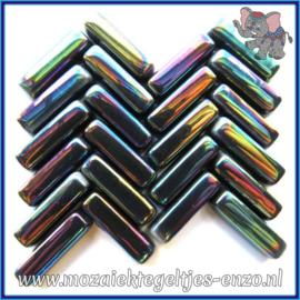 Glasmozaiek steentjes - Stix Rechthoekjes Staafjes Parelmoer - 6 x 20 mm - Enkele Kleuren - per 50 gram - Black
