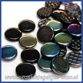 Glasmozaiek steentjes - Penny Rounds Normaal en Parelmoer - 18 mm - Gemixte Kleuren - per 50 gram - Black Magic