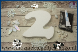 Mozaiek Kant & Klaar Pakket Piepschuim Huisnummer Groot - Cijfer 2 Wit