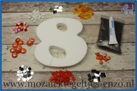 Mozaiek Kant & Klaar Pakket Piepschuim Huisnummer Groot - Cijfer 8 Oranje