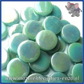 Glasmozaiek steentjes - Penny Rounds Parelmoer - 18 mm - Enkele Kleuren - per 50 gram - Pale Teal