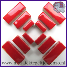 Keramische mozaiek steentjes - Keramiek Rectangles Rechthoekjes Normaal - 4, 6 en 10 mm - Enkele Kleuren - per 50 gram - Poppy Red