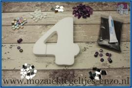 Mozaiek Kant & Klaar Pakket Piepschuim Huisnummer Groot - Cijfer 4 Paars