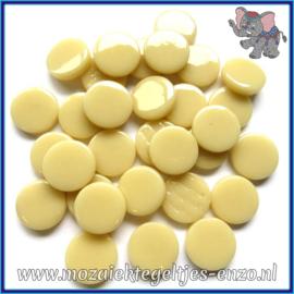 Glasmozaiek steentjes - Penny Rounds Normaal - 18 mm - Enkele Kleuren - per 50 gram - Cream