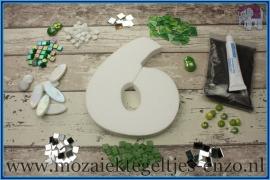 Mozaiek Kant & Klaar Pakket Piepschuim Huisnummer Groot - Cijfer 6 Groen