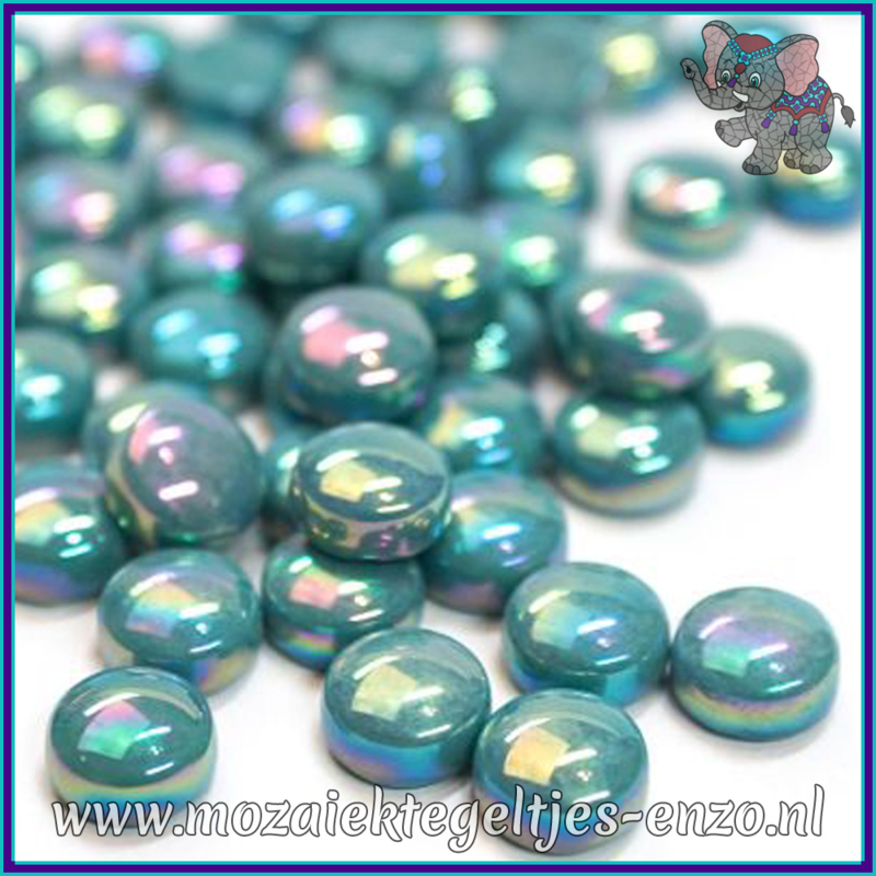 Glasmozaiek steentjes - Optic Drops Parelmoer - 12 mm - Enkele Kleuren - per 50 gram - Deep Teal