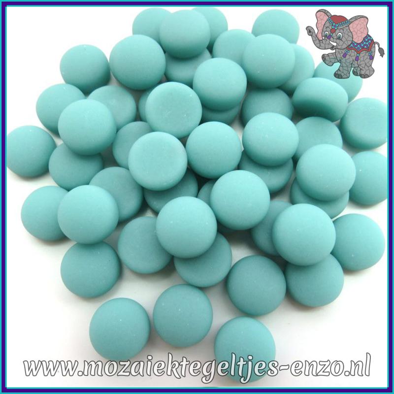 Glasmozaiek steentjes - Optic Drops Matte - 12 mm - Enkele Kleuren - per 50 gram - Teal