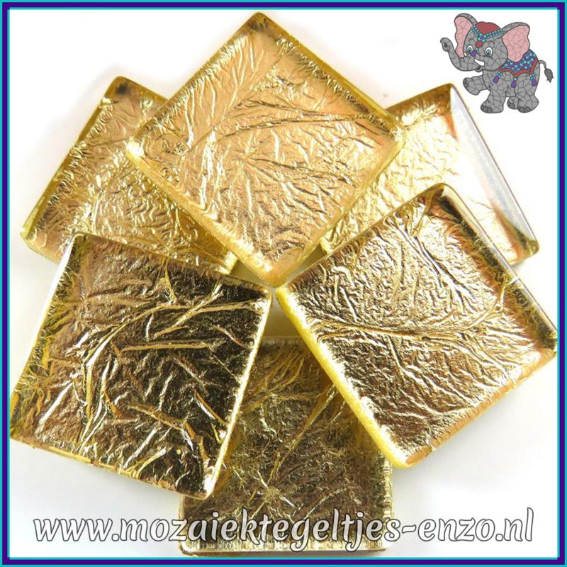 Glasmozaiek tegeltjes - Foil - 2 x 2 cm - Enkele Kleuren - per 20 steentjes - Pale Gold