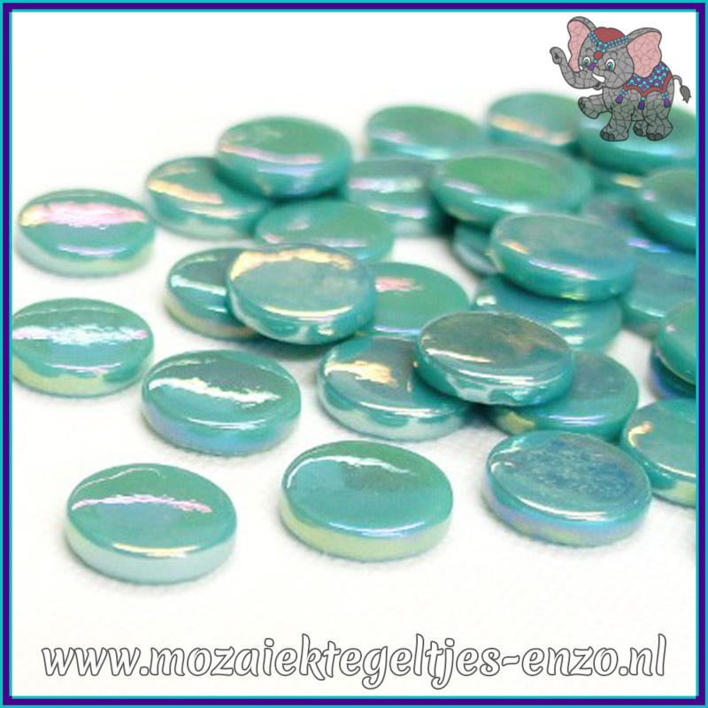 Glasmozaiek steentjes - Penny Rounds Parelmoer - 18 mm - Enkele Kleuren - per 50 gram - Teal