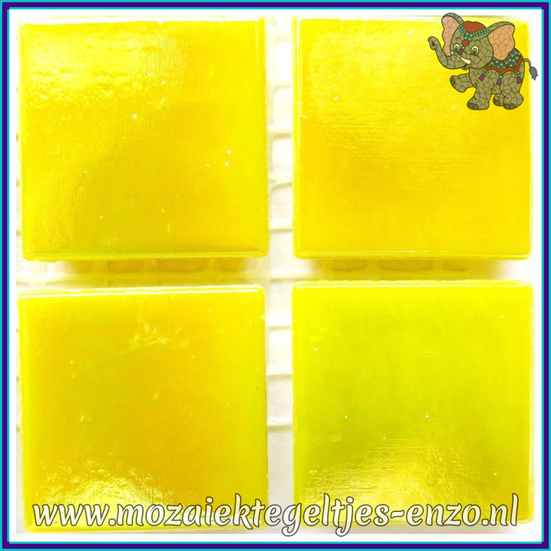 Glasmozaiek tegeltjes - Parelmoer - 2 x 2 cm - Enkele Kleuren - per 20 steentjes - Yellow Citrine