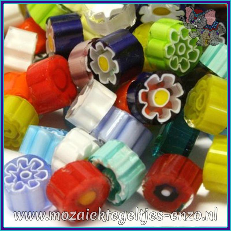 Glasmozaiek steentjes - Millefiore Normaal - 7/8 mm - Gemixte Kleuren - per 20 gram - Translucent Mixed Colours