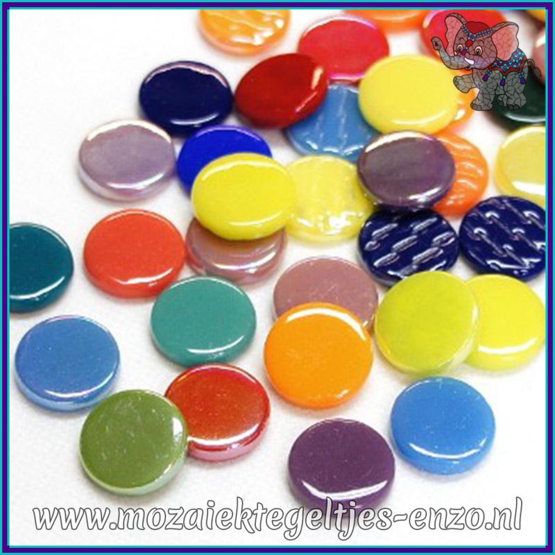 Glasmozaiek steentjes - Penny Rounds Normaal en Parelmoer - 18 mm - Gemixte Kleuren - per 50 gram - Mixed Colours