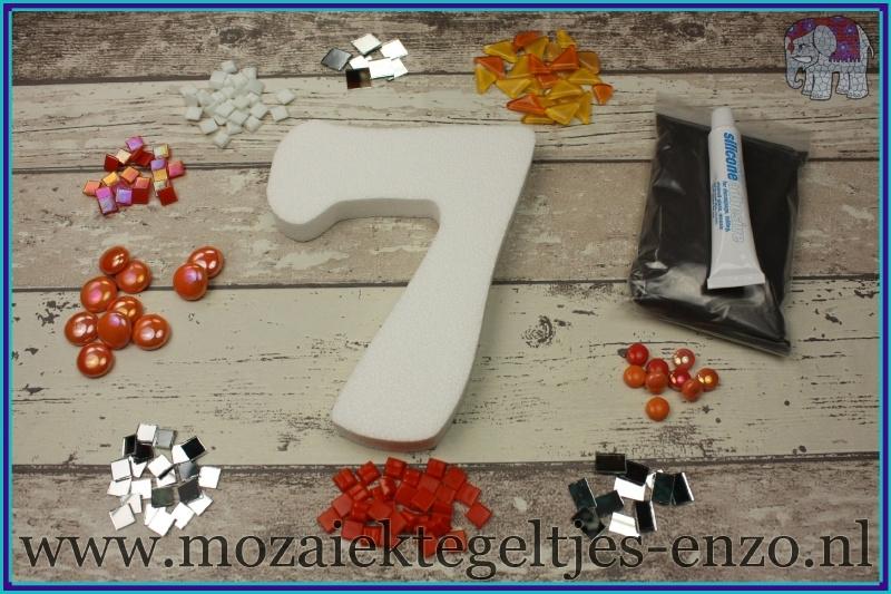 Mozaiek Kant & Klaar Pakket Piepschuim Huisnummer Groot - Cijfer 7 Oranje