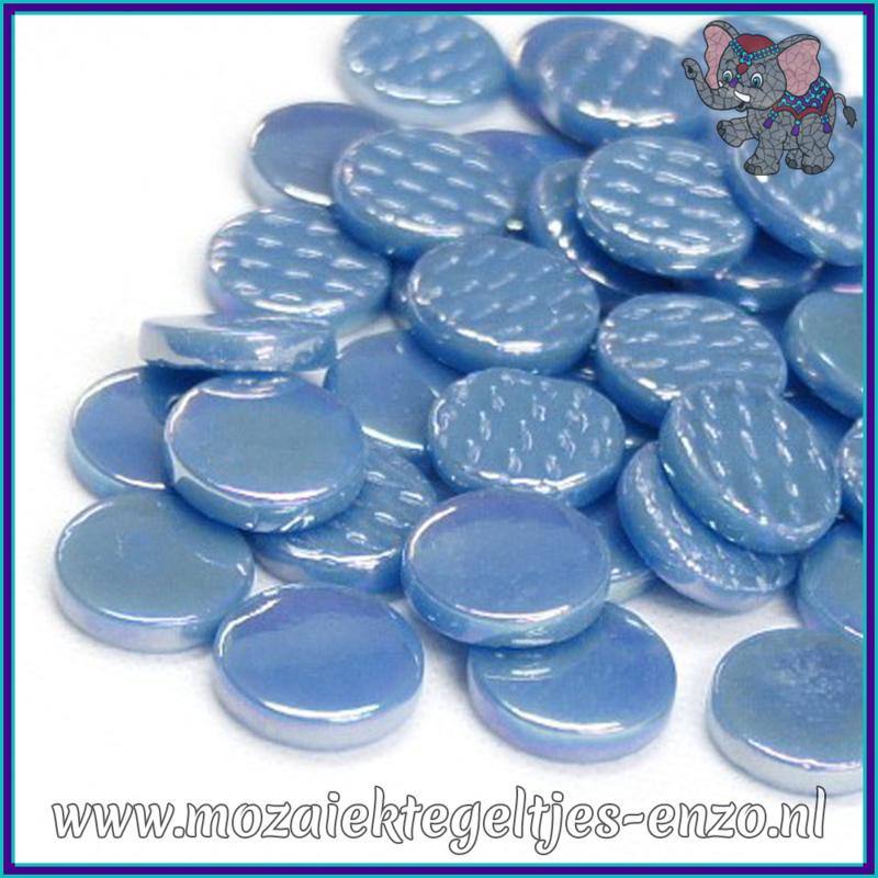 Glasmozaiek steentjes - Penny Rounds Parelmoer - 18 mm - Enkele Kleuren - per 50 gram - Lake Blue
