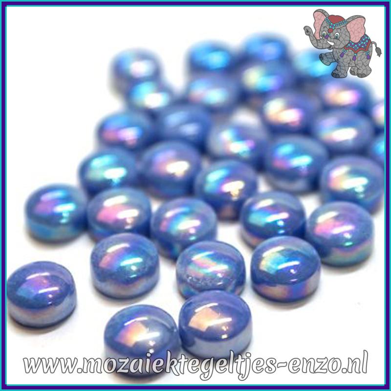 Glasmozaiek steentjes - Optic Drops Parelmoer - 12 mm - Enkele Kleuren - per 50 gram - True Blue