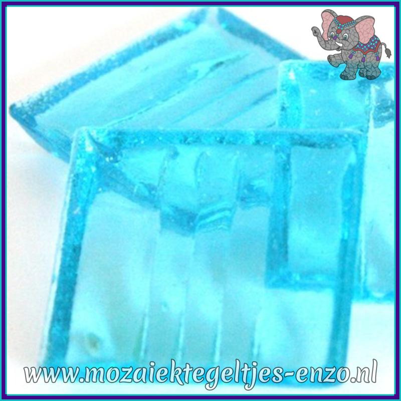 Glasmozaiek tegeltjes - Doorzichtig - 2 x 2 cm - Enkele Kleuren - per 20 steentjes - Aqua