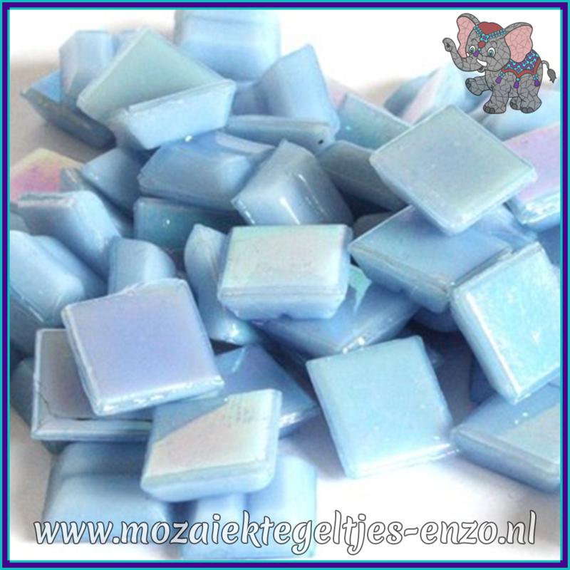 Glasmozaiek tegeltjes - Parelmoer - 1 x 1 cm - Enkele Kleuren - per 60 steentjes - Mini Blue Opal