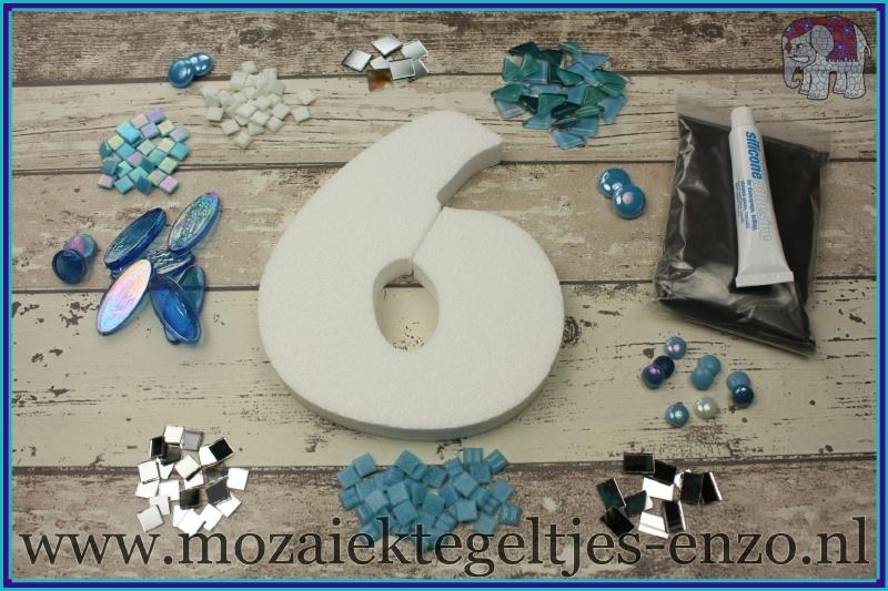 Mozaiek Kant & Klaar Pakket Piepschuim Huisnummer Groot - Cijfer 6 Blauw