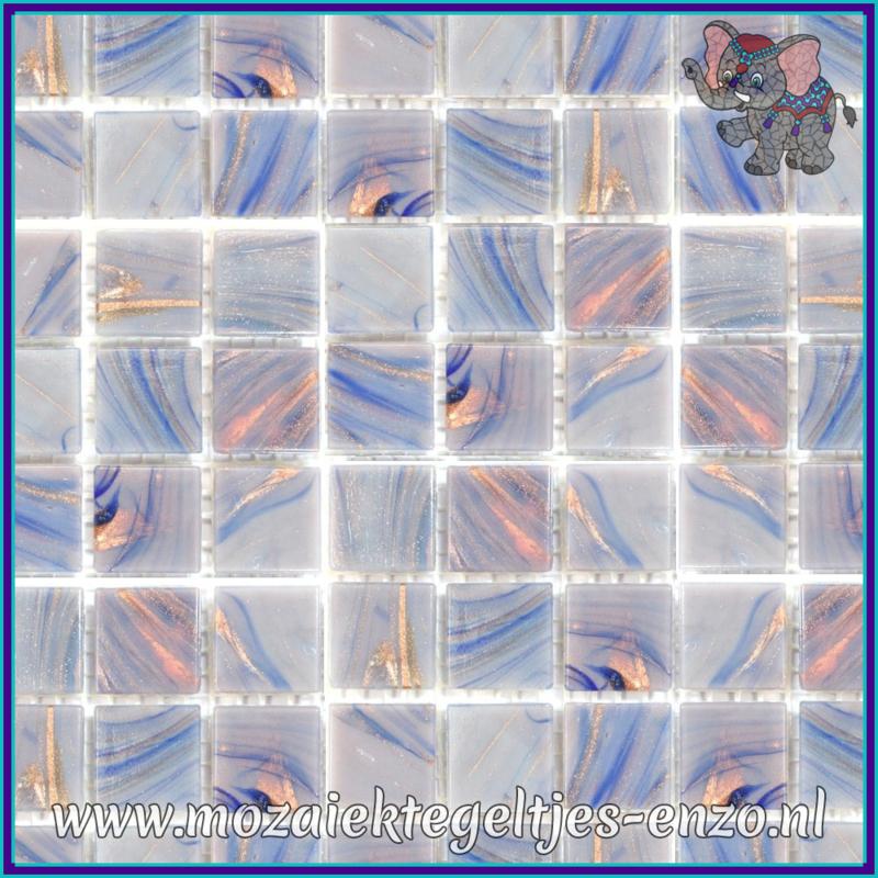Glasmozaiek tegeltjes - Gold Line - 2 x 2 cm - Enkele Kleuren - per 20 steentjes - Ultraviolet Swirl