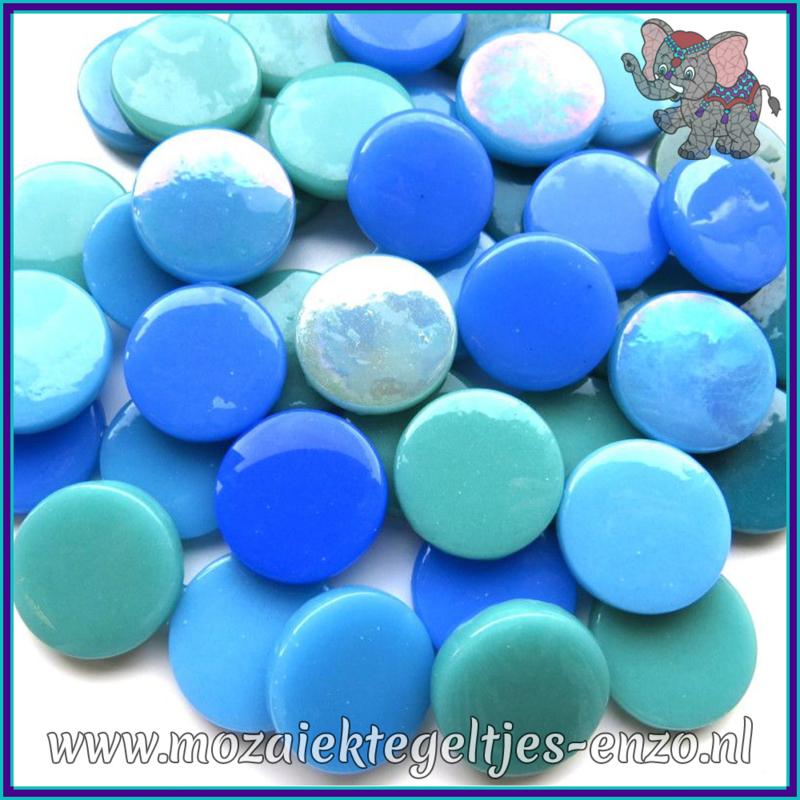 Glasmozaiek steentjes - Penny Rounds Normaal en Parelmoer - 18 mm - Gemixte Kleuren - per 50 gram - Teal Squeal