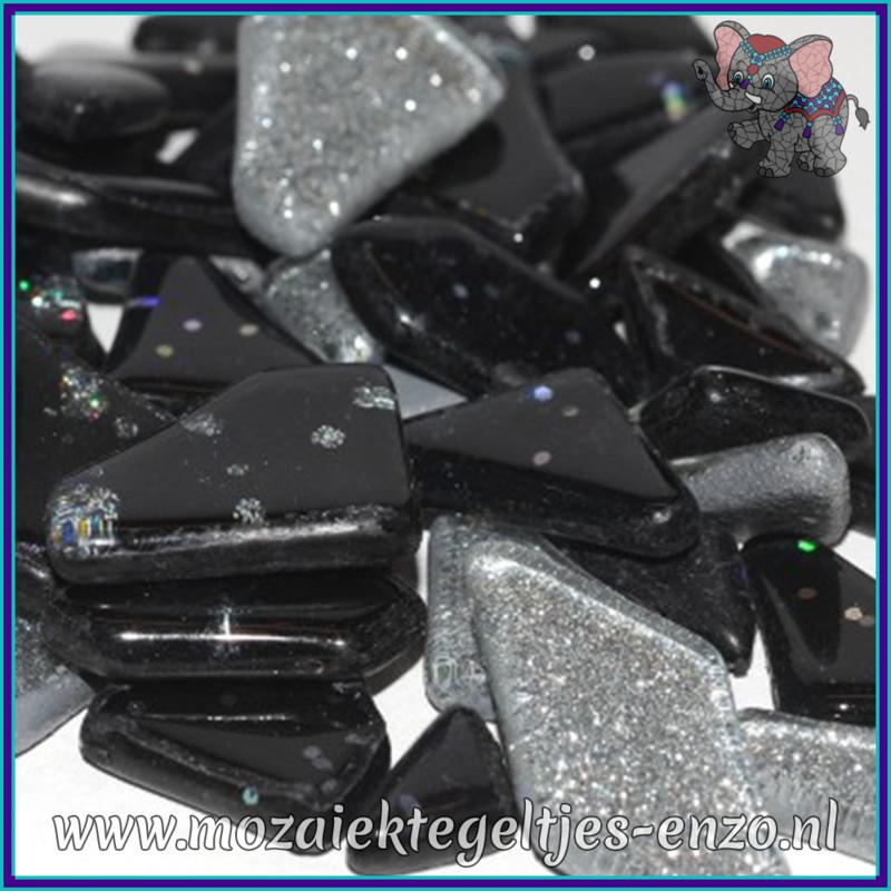 Glasmozaiek steentjes - Soft Glass Puzzles Glitter - Gemixte Kleuren - per 50 gram - Galaxy