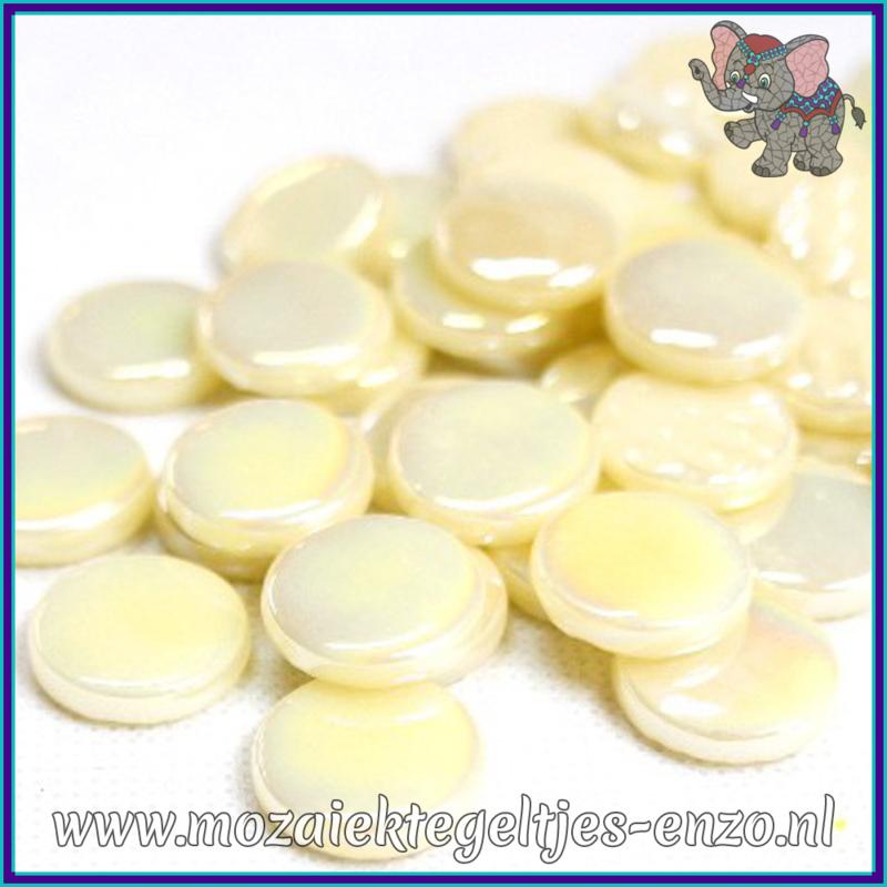 Glasmozaiek steentjes - Penny Rounds Parelmoer - 18 mm - Enkele Kleuren - per 50 gram - Alabaster