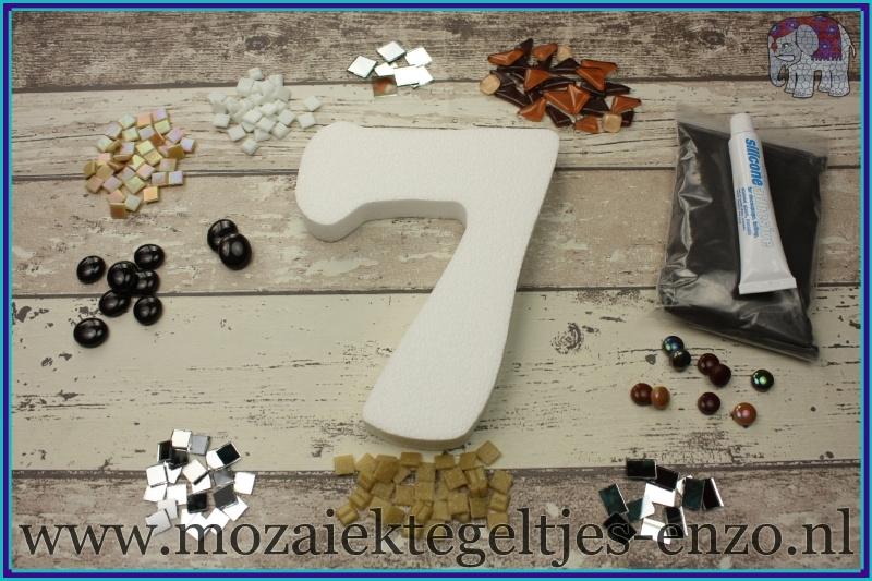 Mozaiek Kant & Klaar Pakket Piepschuim Huisnummer Groot - Cijfer 7 Bruin