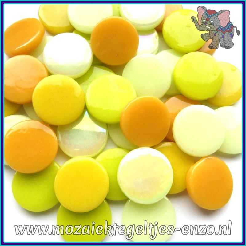 Glasmozaiek steentjes - Penny Rounds Normaal en Parelmoer - 18 mm - Gemixte Kleuren - per 50 gram - Yellow Bird